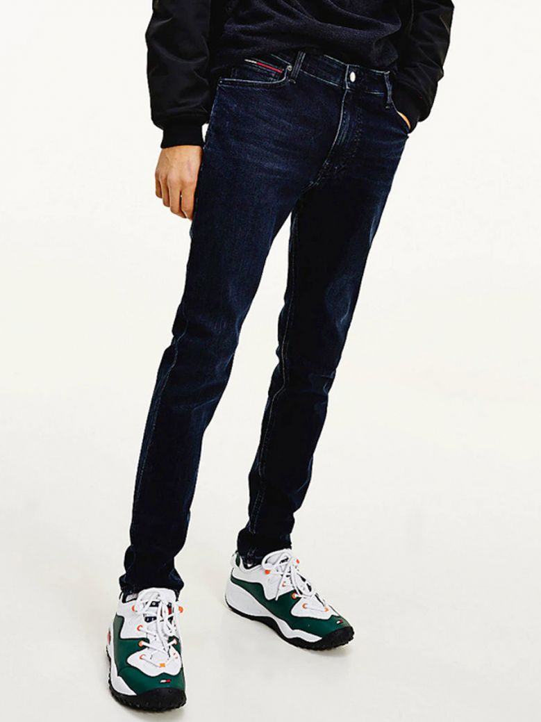 Tommy Jeans Mens Extra Dark Blue Simon Faded Skinny Fit Jeans