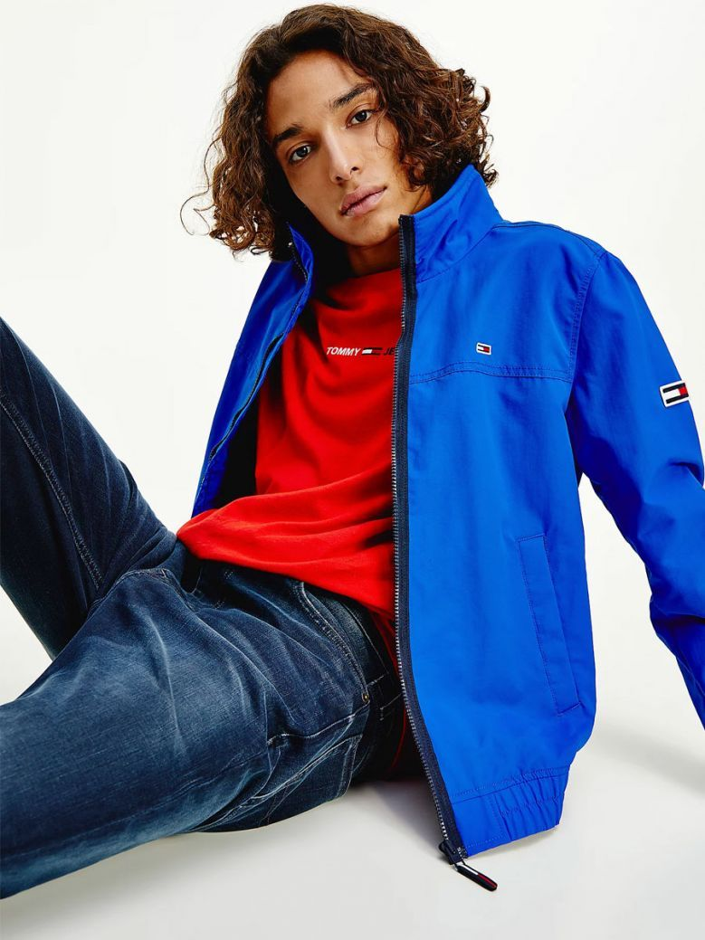 Tommy Jeans Men Cobalt Essential Zip-Thru Bomber Jacket
