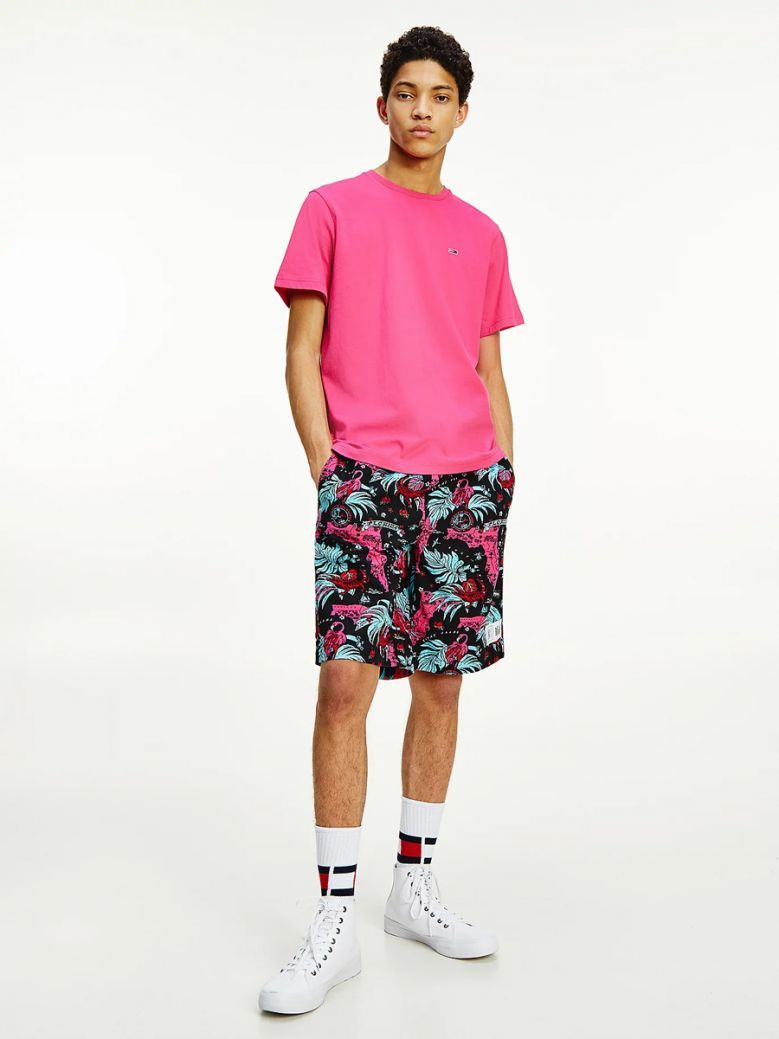Tommy Jeans Mens Bright Cerise Pink Organic Cotton Jersey Flag T-Shirt
