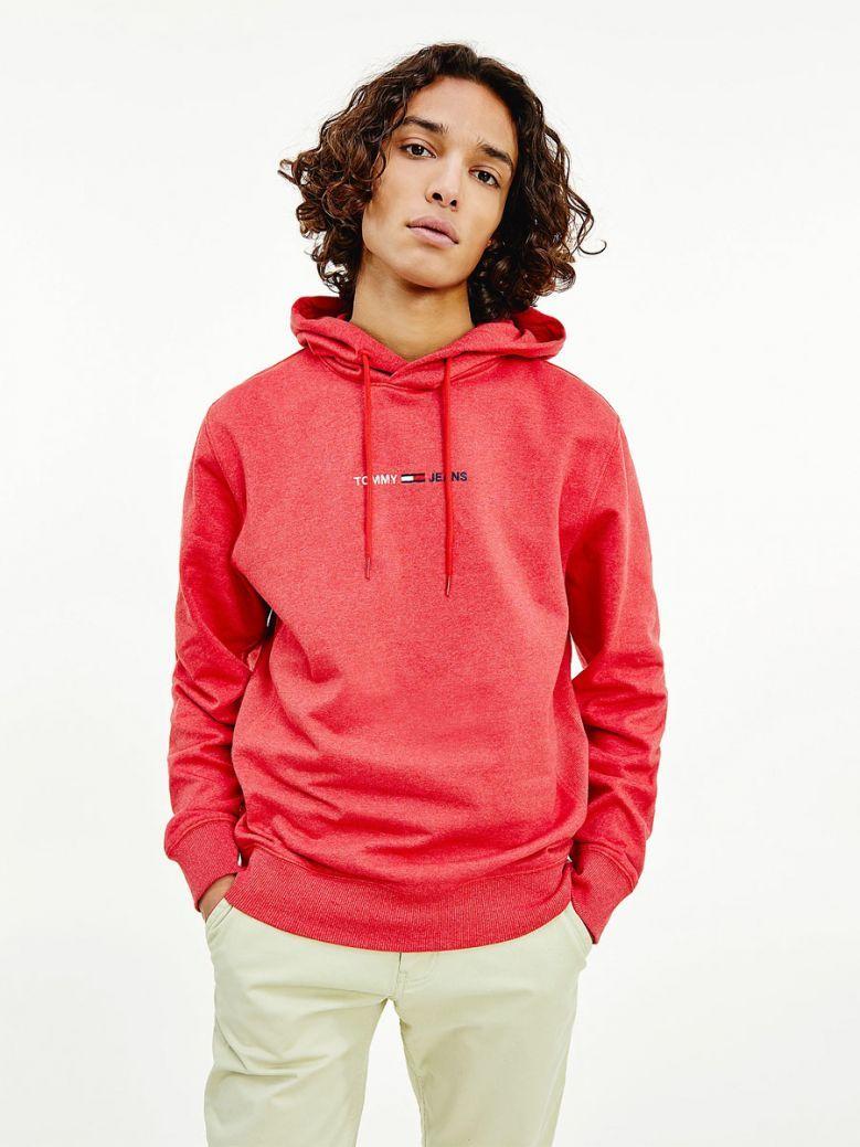 Tommy Jeans Mens Deep Crimson Htr Logo Hoodie