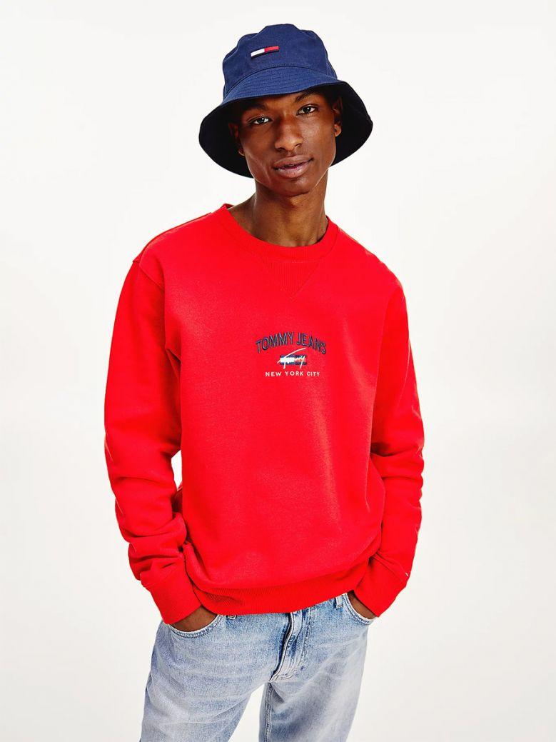 Tommy Jeans Mens Deep Crimson Organic Cotton Signature Sweatshirt