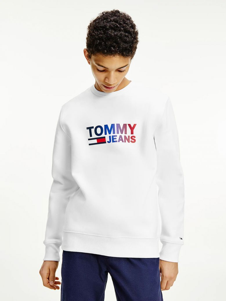 Tommy Jeans Mens White Ombre Logo Sweatshirt