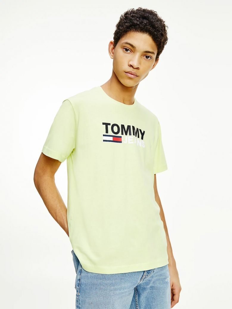 Tommy Jeans Men Faded Lime Large Logo Organic Cotton T-Shirt