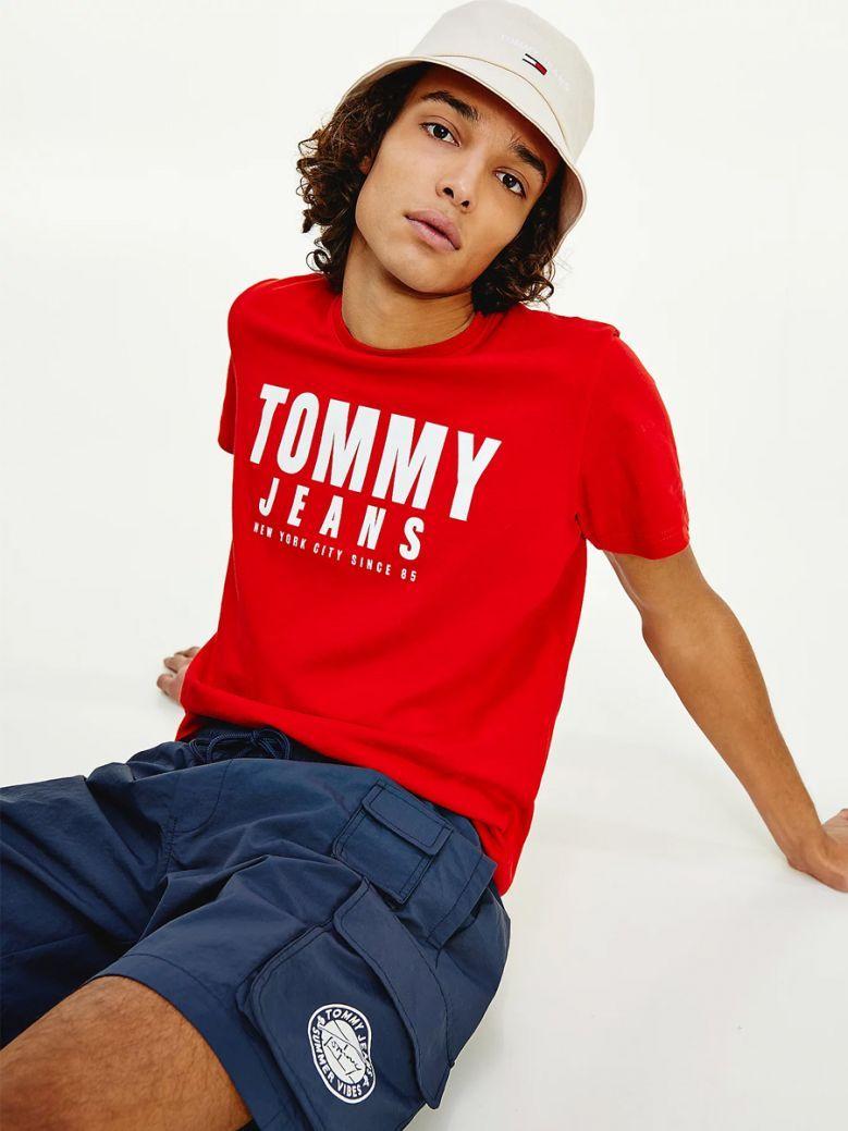Tommy Jeans Mens Deep Crimson Organic Cotton Bold Logo T-Shirt