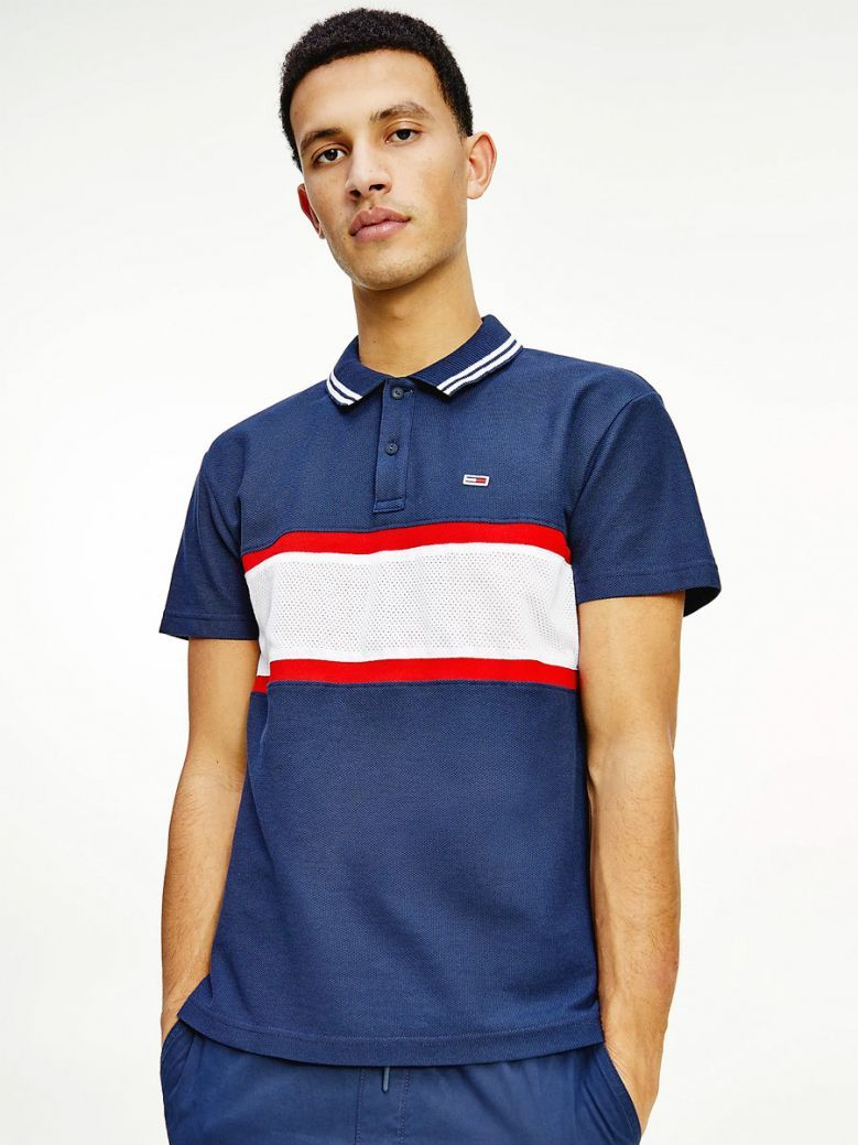 Tommy Jeans Men Twilight Navy Multi Striped Honeycomb Pique Relaxed Fit Polo