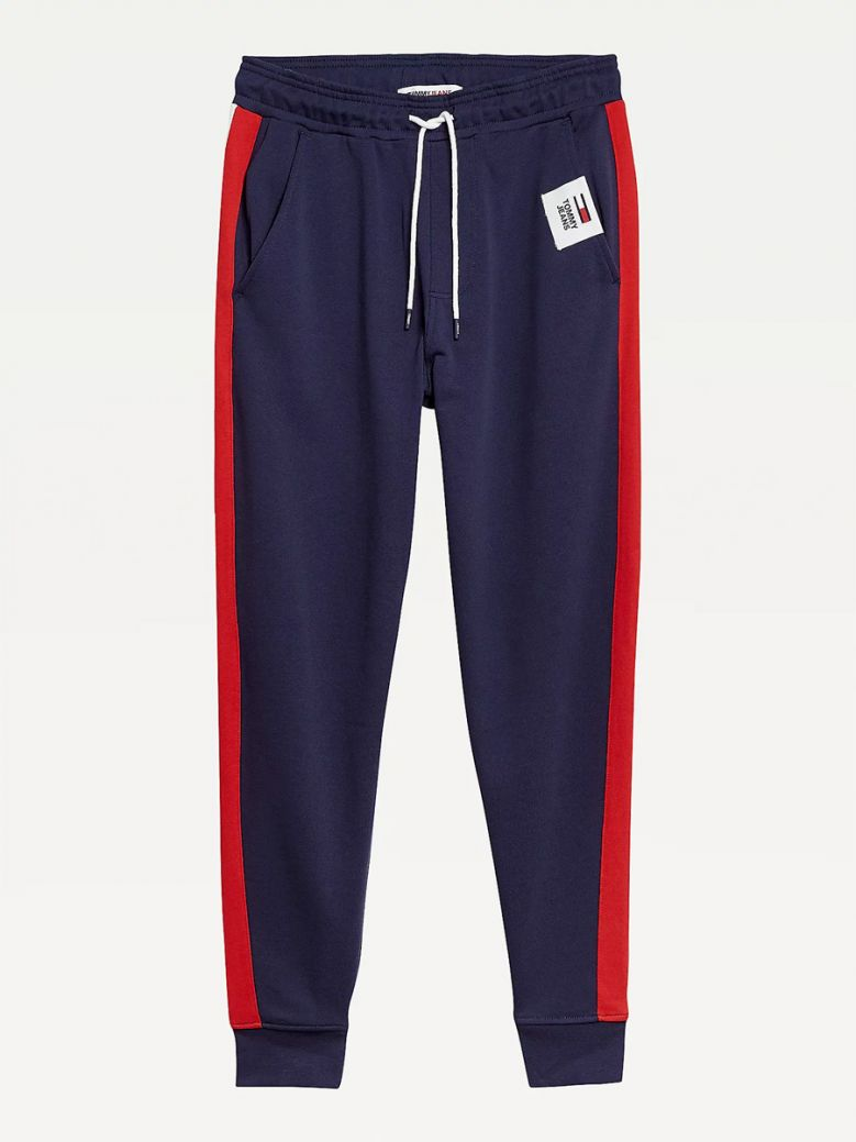Tommy Jeans Men Twilight Navy Colour-Blocked Basketball Joggers