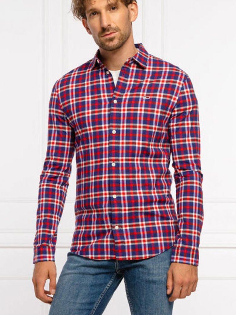Tommy Jeans Stretch Poplin Check Shirt Red