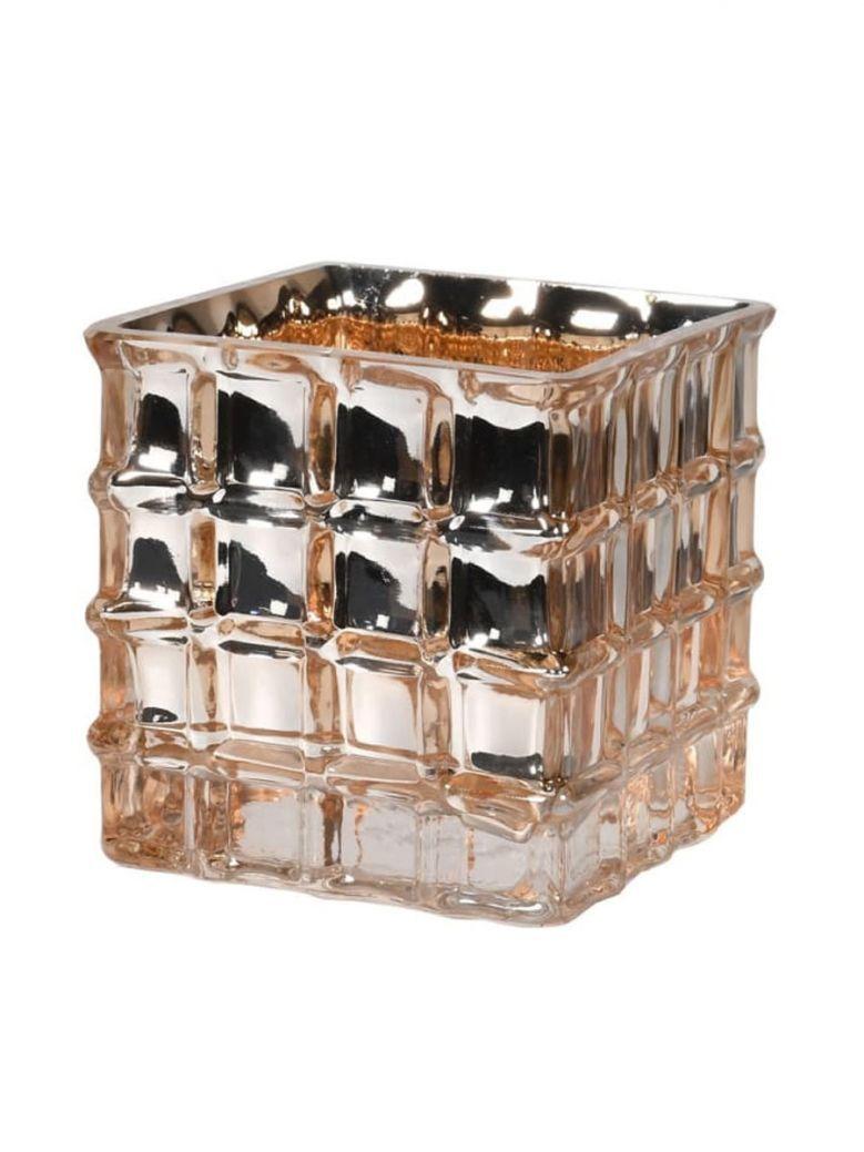 Small Gold Square Glass Vase