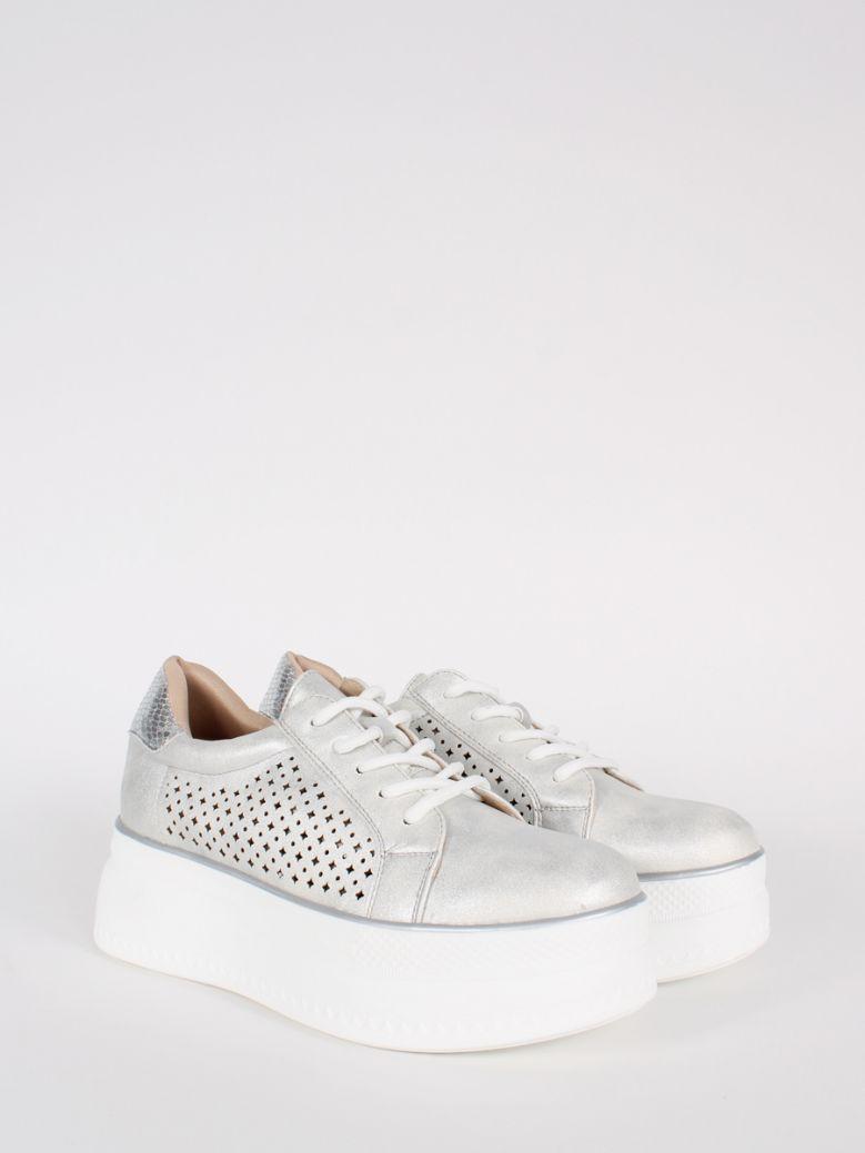Cilento Woman Silver Flatform Lace Up Sneaker
