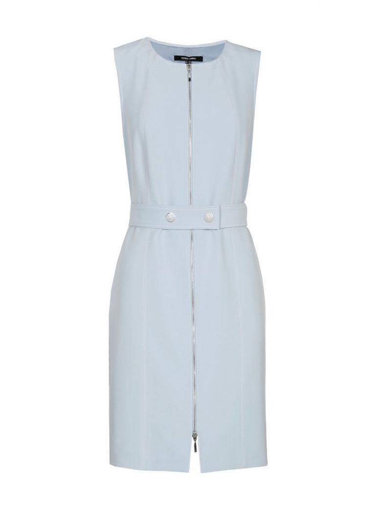 Marie Mero Sky Blue Belted Sleeveless Zip-Up Dress
