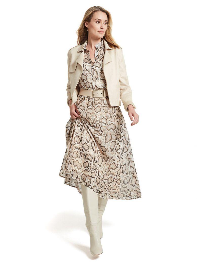 Marie Méro Beige Snake Print Long Souple Silk Dress
