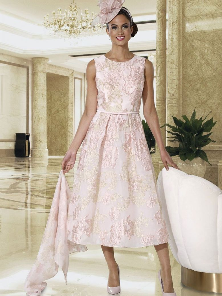 Dress Code Flower Lace Detail Dress, Pink and Gold, Style DC394S