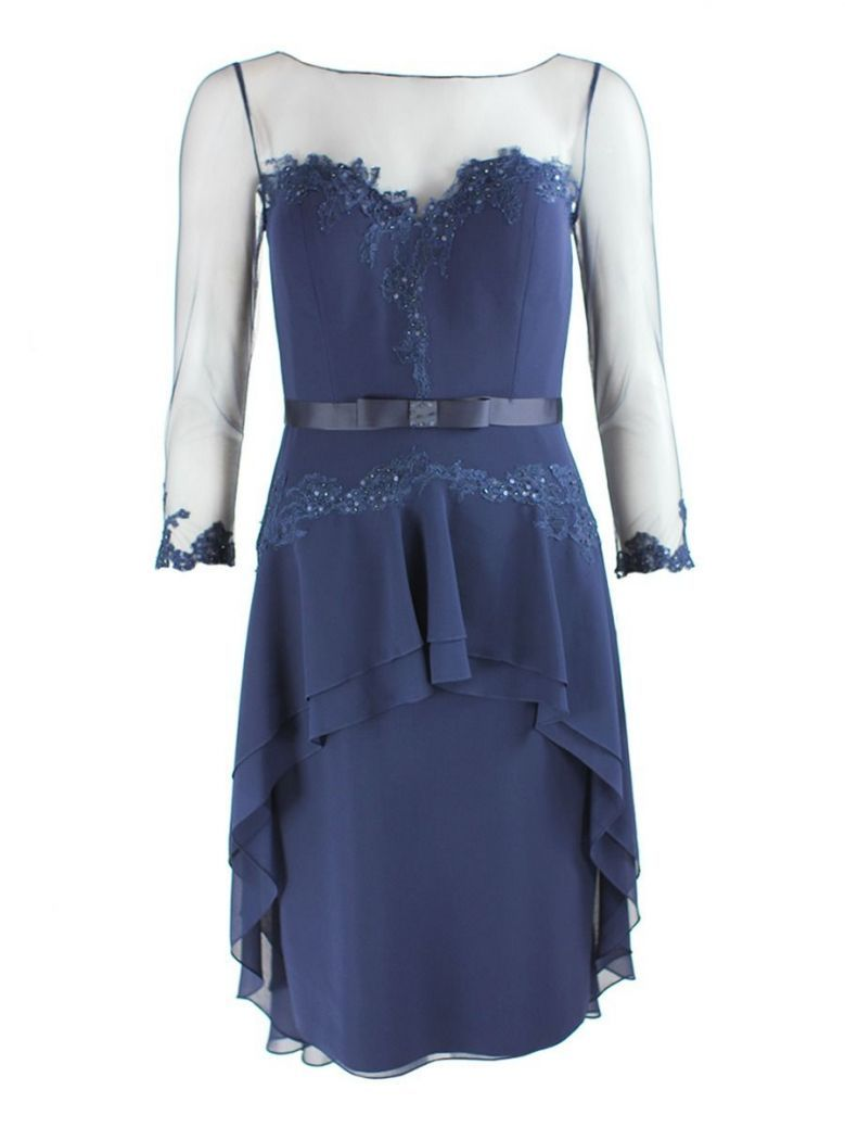 Dress Code Mesh Sleeve Midi Dress, Navy, Style DC254E