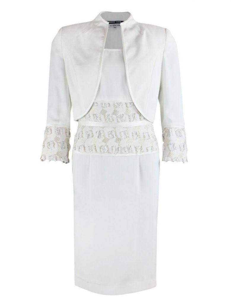Dress Code Metallic Trim Dress and Bolero Set, Ivory, Style DC306