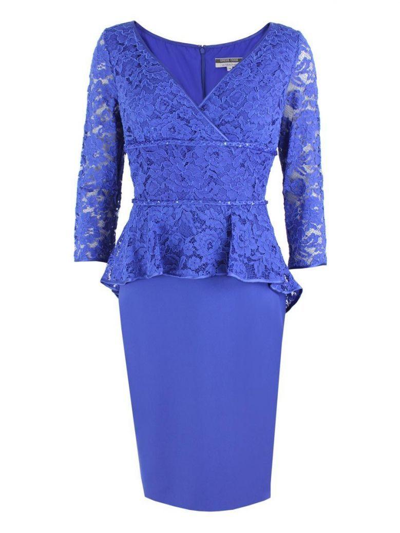 Dress Code Lace Midi Dress, Cobalt Blue, Style DC316E