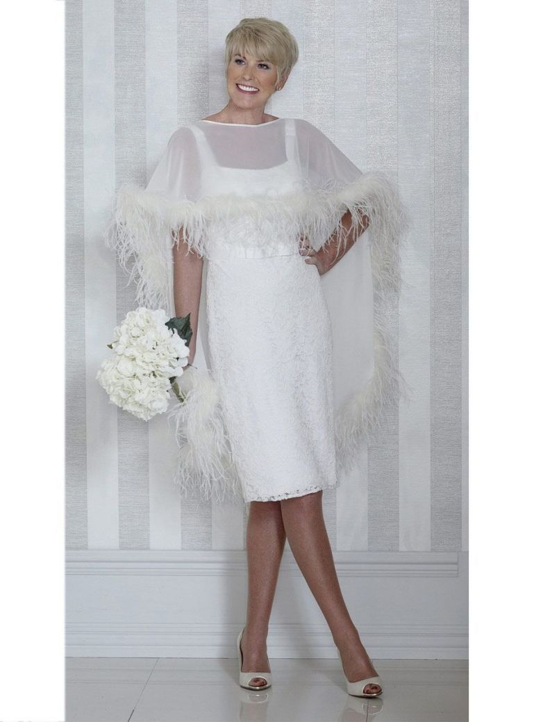 Dress Code Feather Detail Midi Dress and Overlay Cape, Cream, Style DC319E