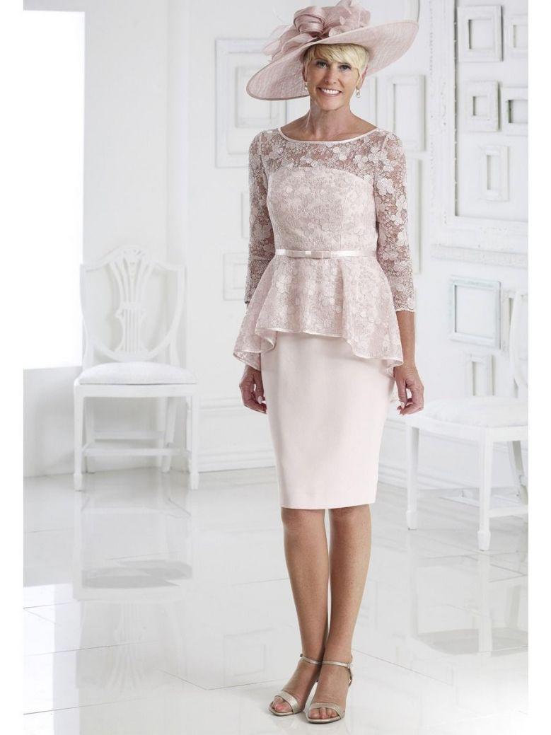 Dress Code Lace Detail Peplum Dress, Pale Pink, Style DC369