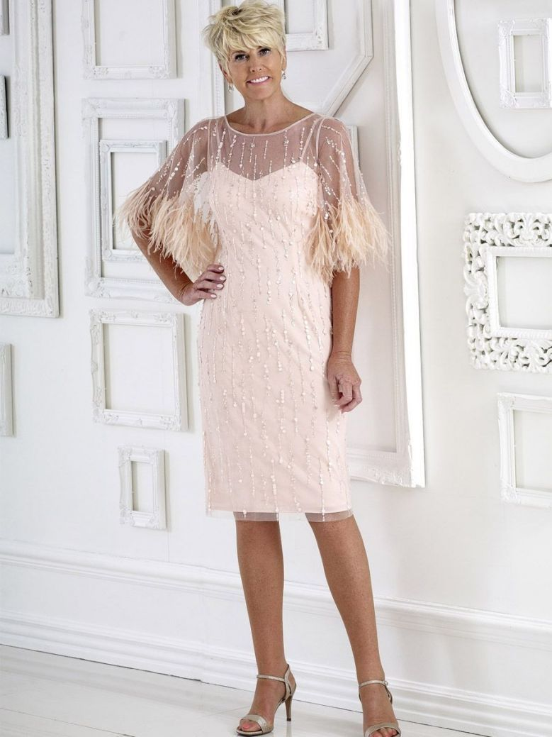 Dress Code Feather and Sequin Detail Dress, Peachy Pink, Style DC375E
