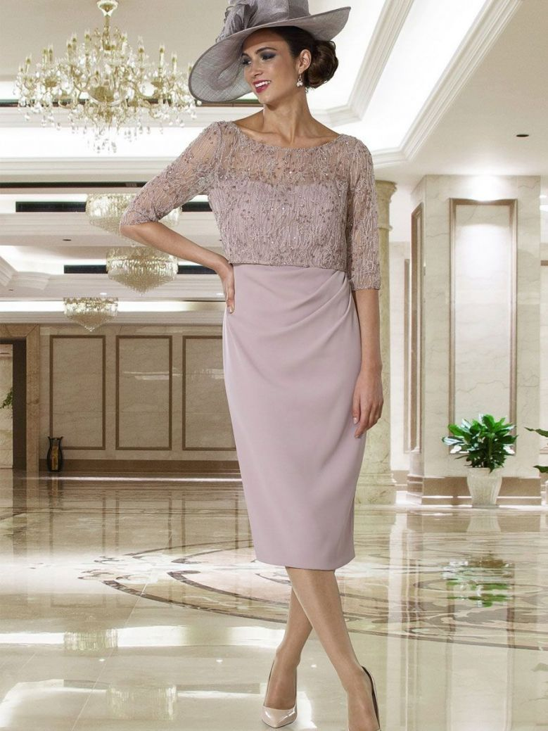 Dress Code Lace Detail Dress, Dark Taupe, Style DC397S