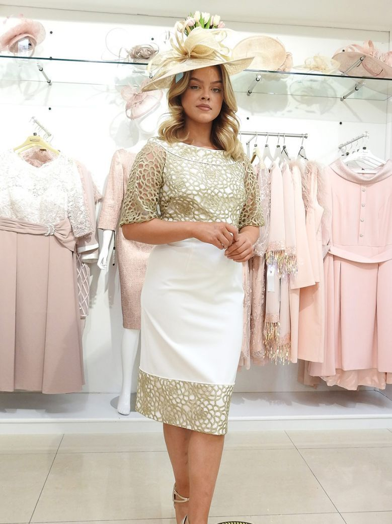 Dress Code Lace Detail Dress, Cream and Gold, Style DC124D