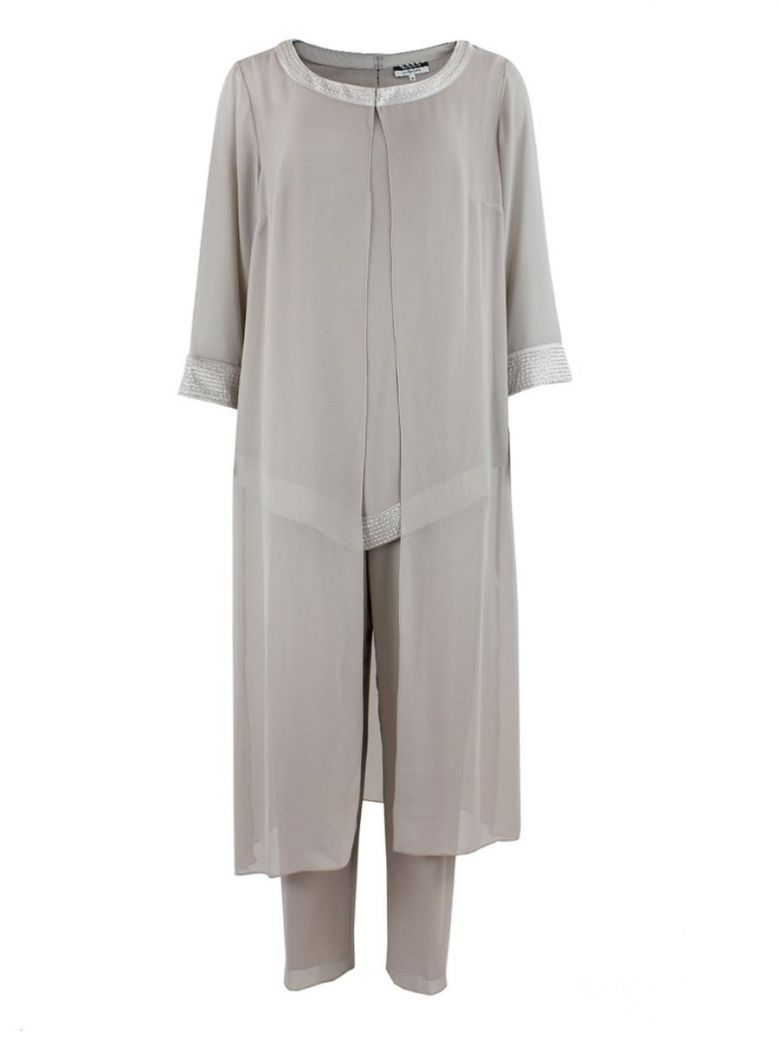 Dressed Up Chiffon Trouser Suit and Jacket 3-Piece, Nude, Style DU227