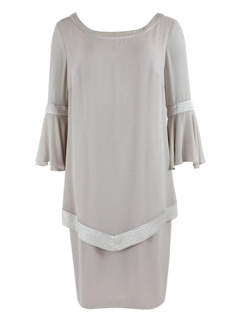 Dressed Up Beaded Trim Mid-Length Dress, Nude, Style DU228