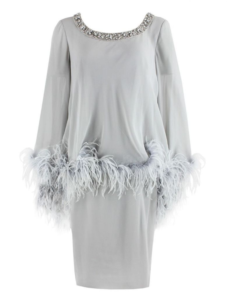 Dressed Up Feather Trimmed Dress, Silver, Style DU252