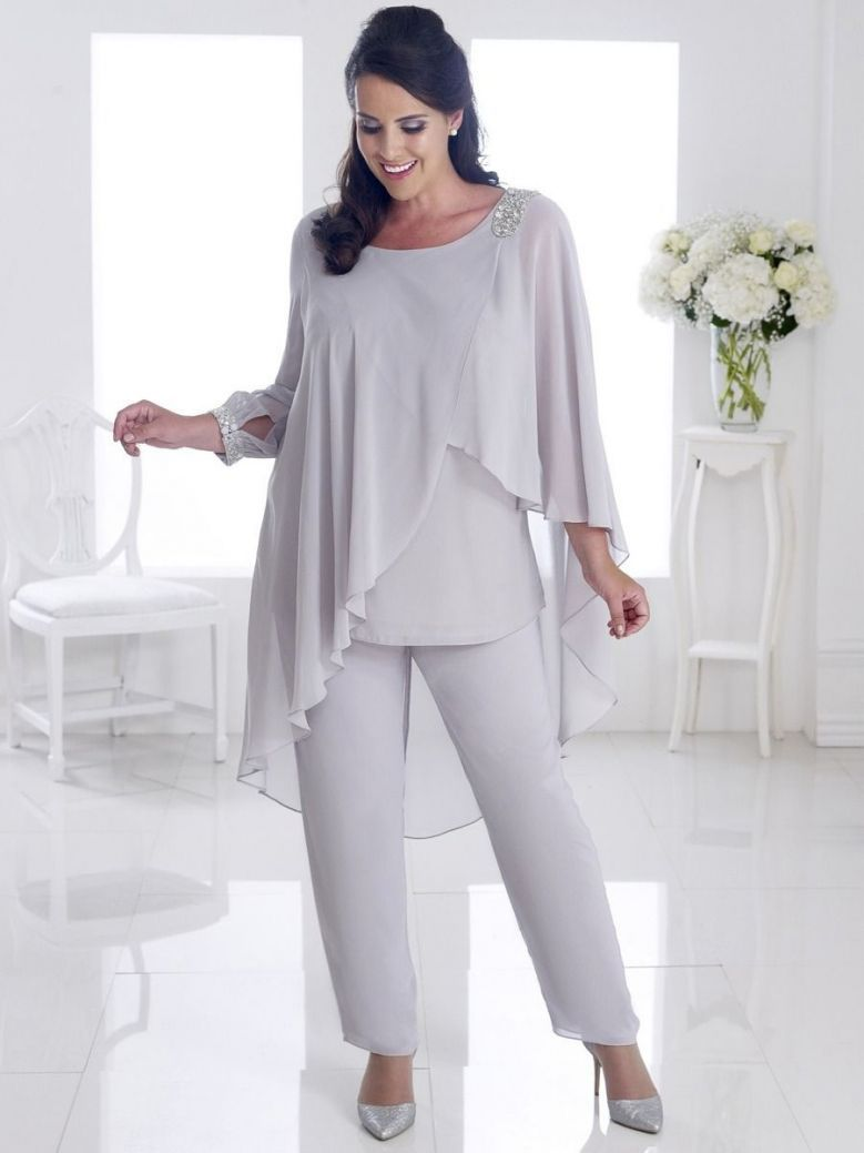 Dressed Up Embellished Chiffon Two-Piece Trouser Suit, Silver, Style DU274