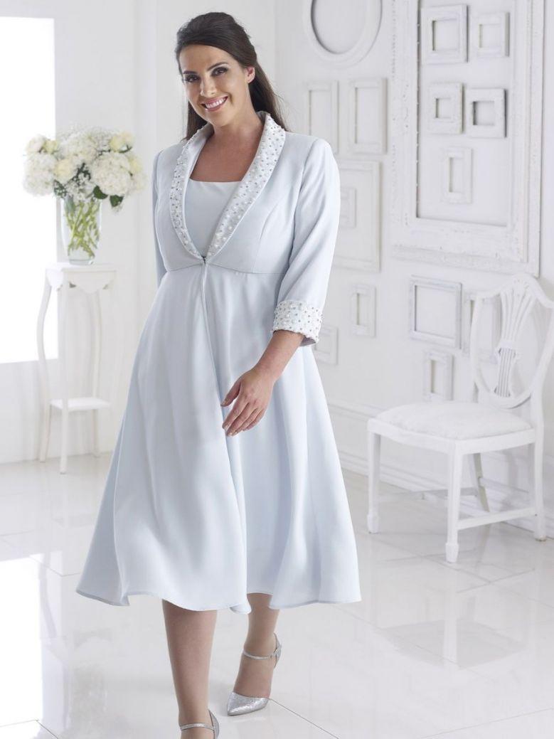 Dressed Up Embellished Dress and Jacket Set, Pale Blue, Style DU293