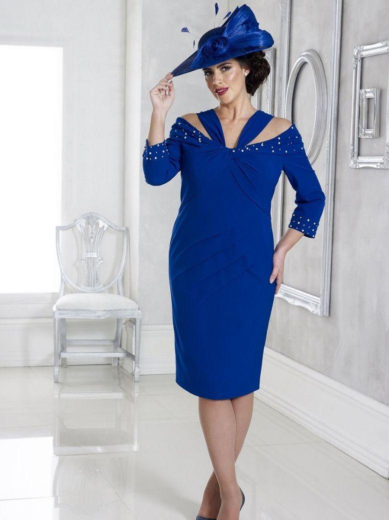 Dressed Up Halter Neck Style Dress, Cobalt Blue, Style DU308