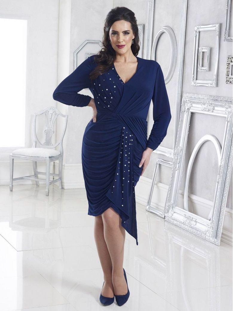 Dressed Up Pearl Embellished Drape Effect Dress, Navy, Style DU318