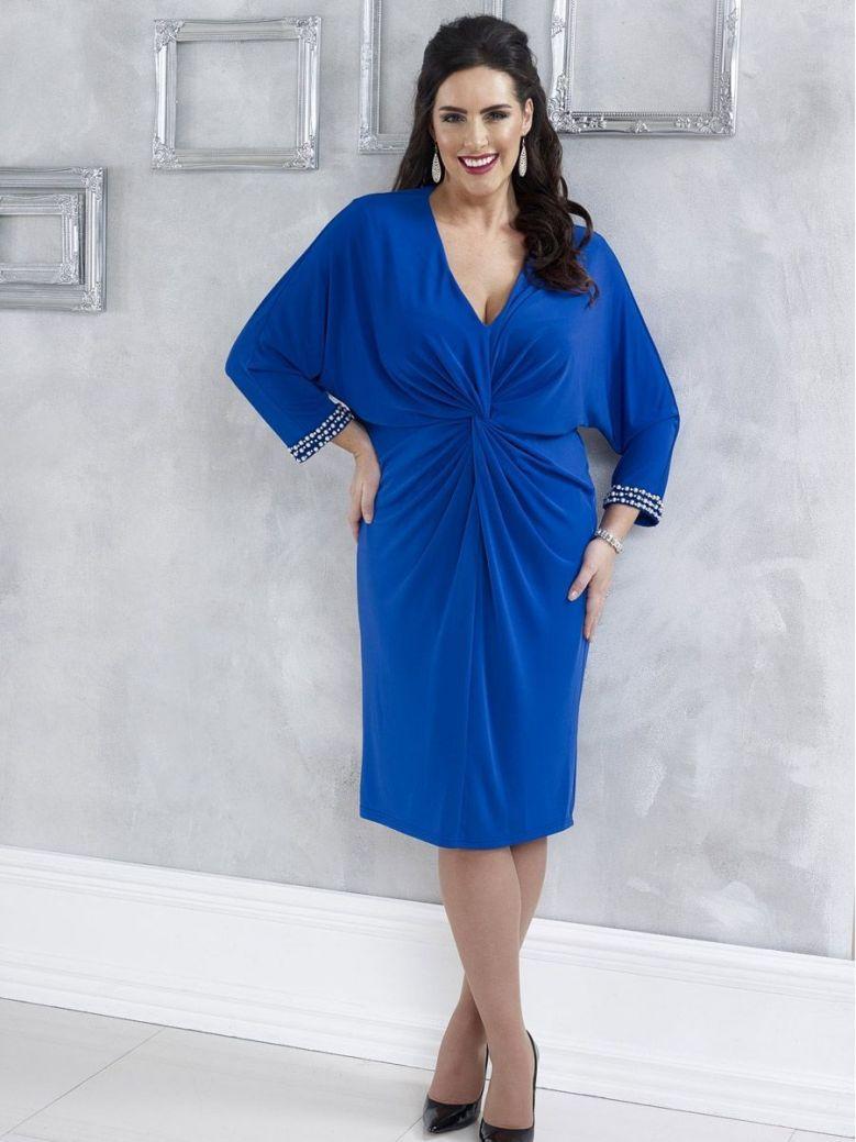 Dressed Up Gathered Effect Dress, Cobalt Blue, Style DU319