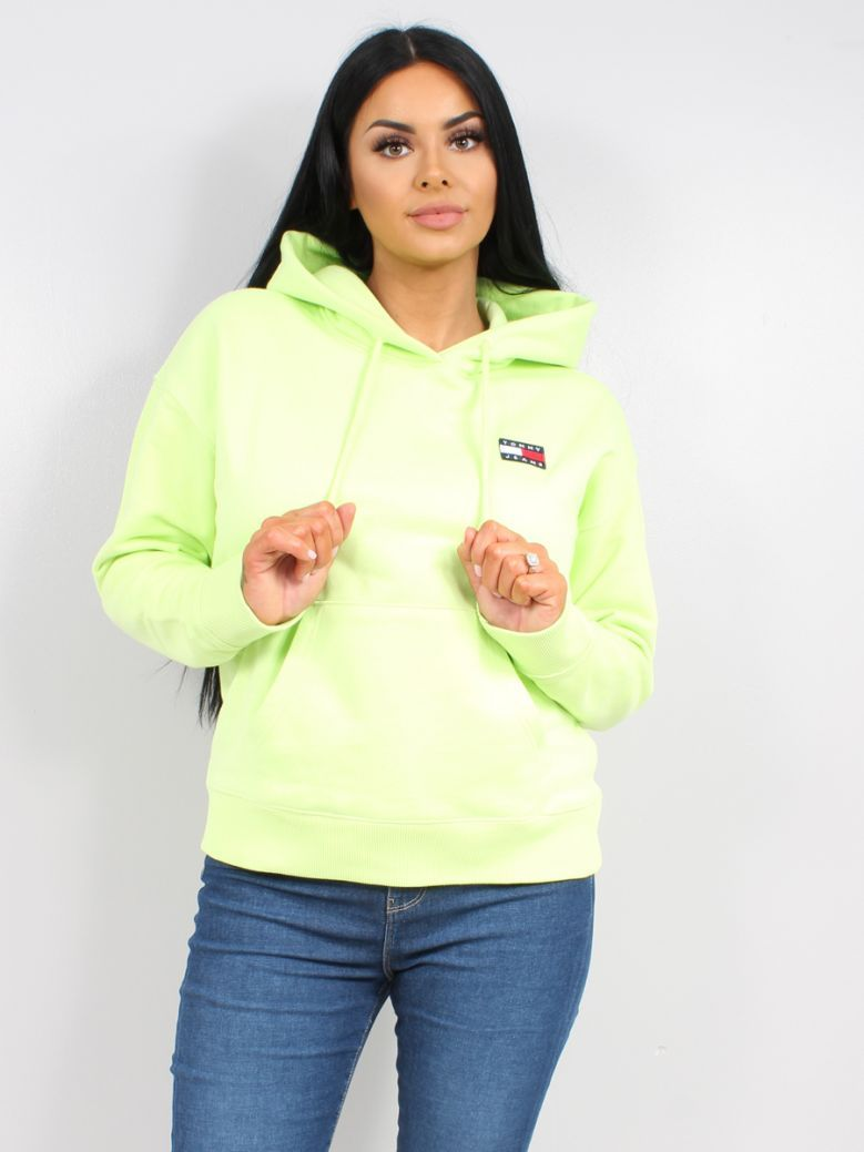 Tommy Jeans Ladies Faded Lime Tommy Badge Organic Cotton Hoodie