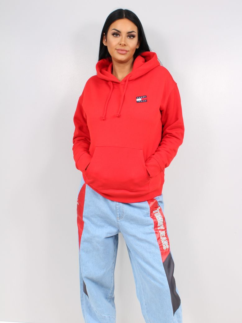 Tommy Jeans Ladies Deep Crimson Tommy Badge Organic Cotton Hoodie