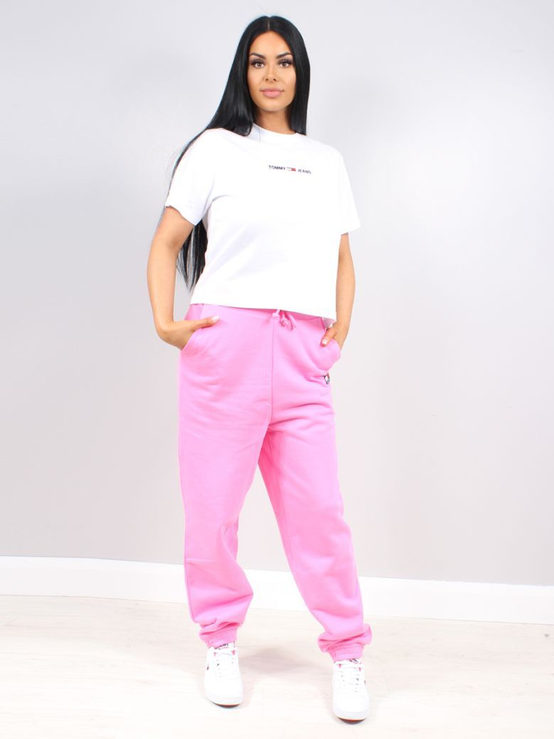 Tommy Jeans Ladies Pink Daisy Tommy Badge Relaxed Fit Joggers