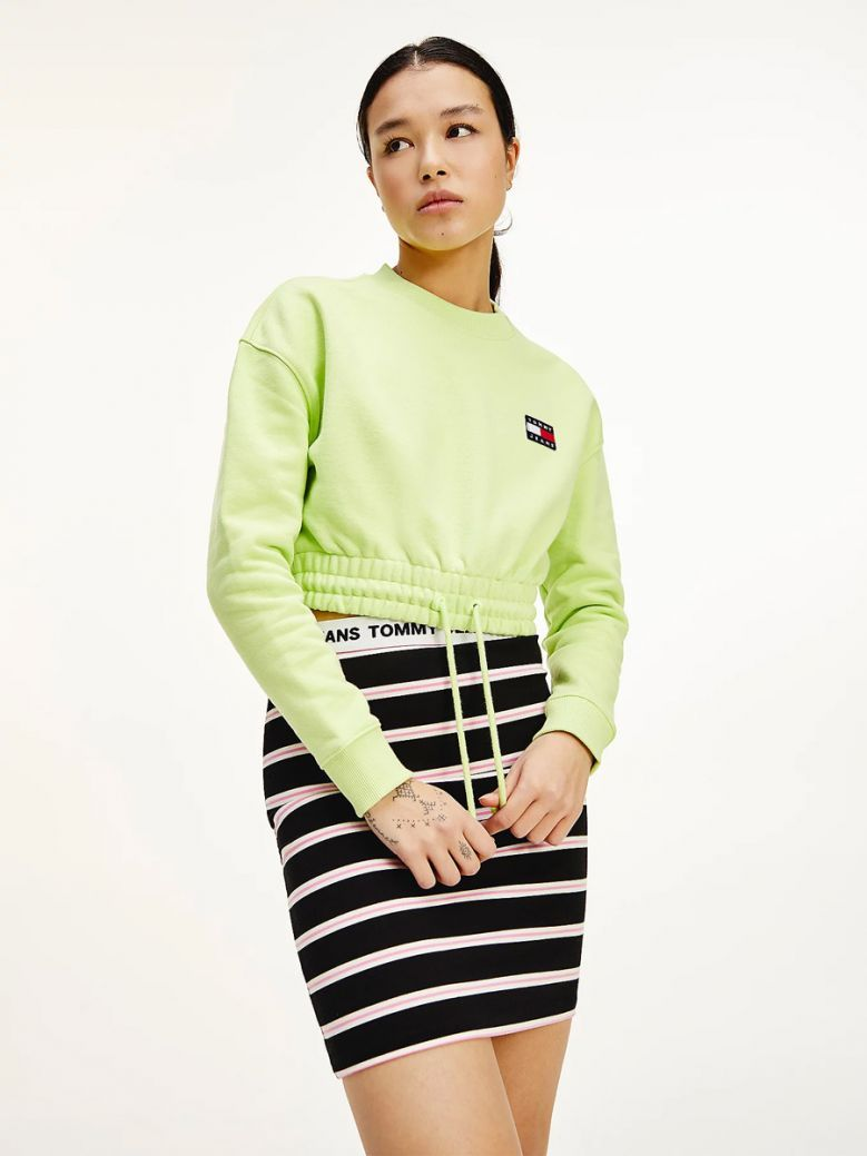 Tommy Jeans Faded Lime Tommy Badge Cropped Organic Cotton Sweatshirt