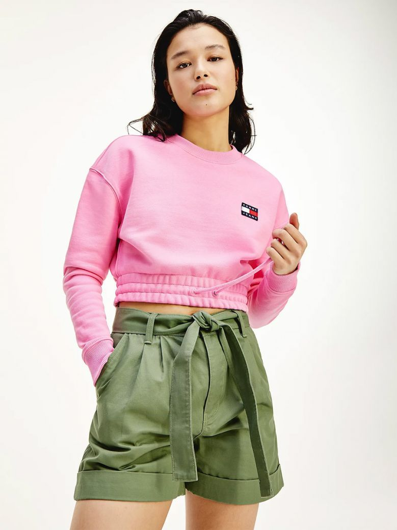 Tommy Jeans Pink Daisy Tommy Badge Cropped Organic Cotton Sweatshirt