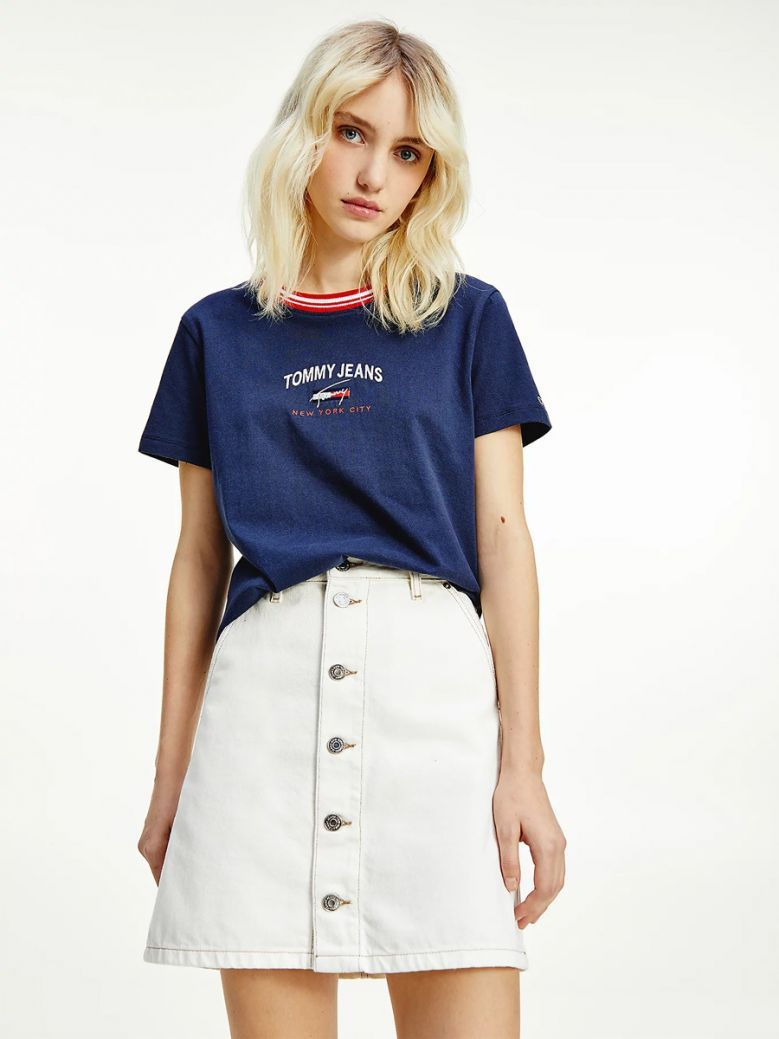 Tommy Jeans Ladies Twilight Navy Contrast Collar Logo T-Shirt