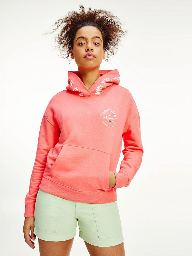Tommy Jeans Ladies Diva Pink Repeat Logo Tape Organic Cotton Hoody