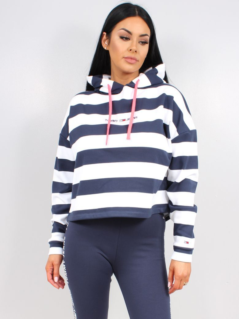 Tommy Jeans Ladies Twilight Navy Boxy Stripe Hoodie