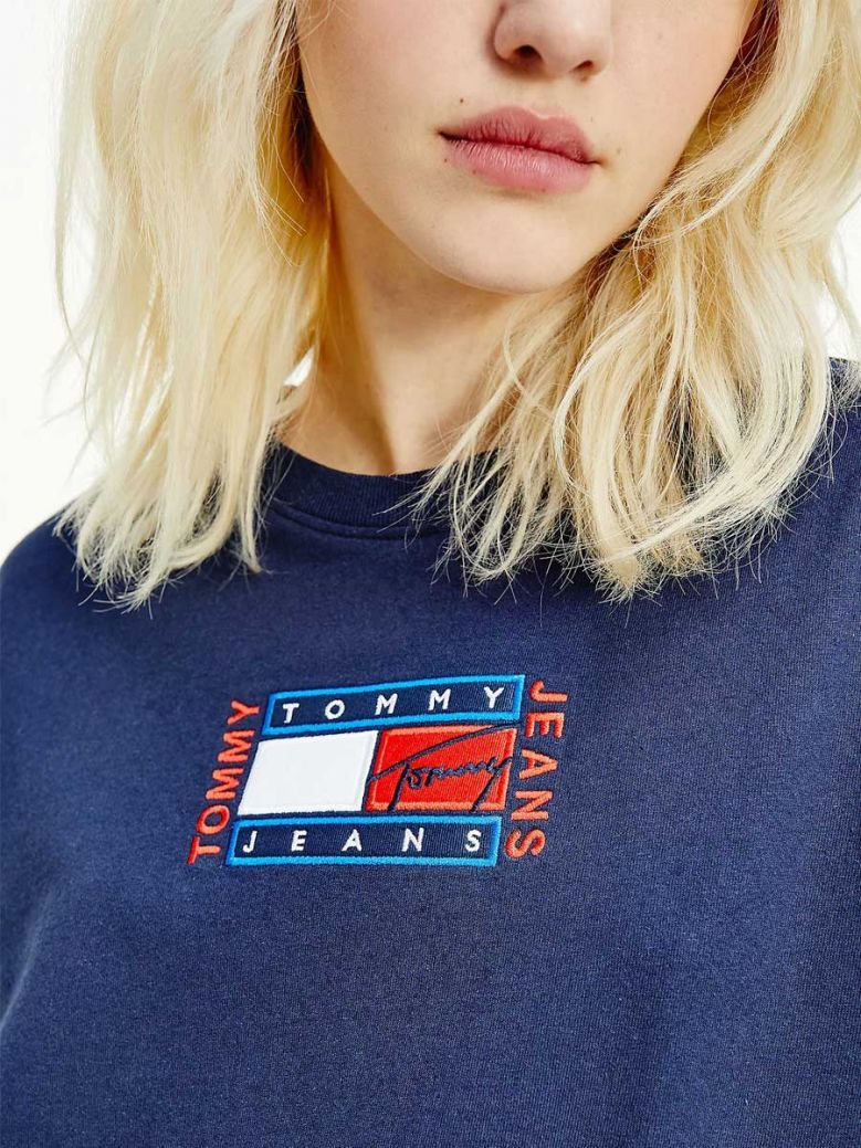 Tommy Jeans Ladies Twilight Navy Logo Embroidery Relaxed Fit T-Shirt