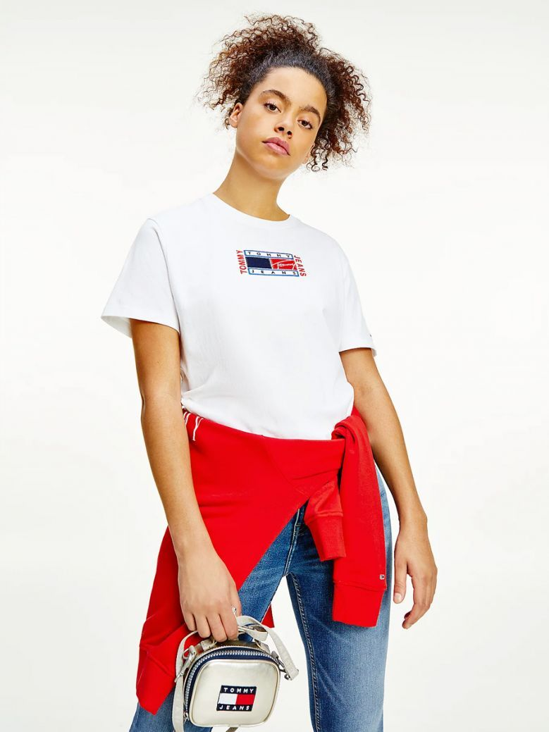 Tommy Jeans Ladies White Logo Embroidery Relaxed Fit T-Shirt