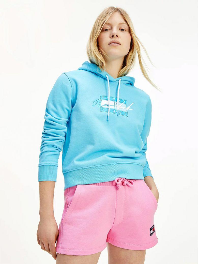 Tommy Jeans Ladies Seashore Blue Cropped Logo Hoody
