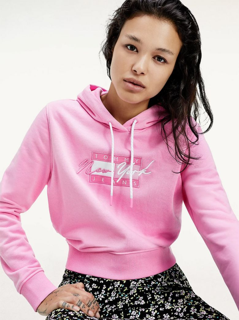 Tommy Jeans Ladies Pink Daisy Cropped Logo Hoody