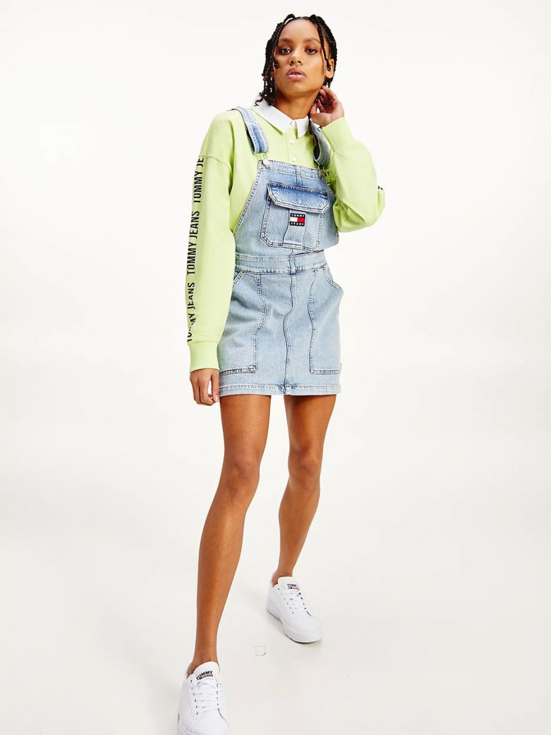 Tommy Jeans Ladies Tommy Badge Neon Embroidery Dungaree Dress