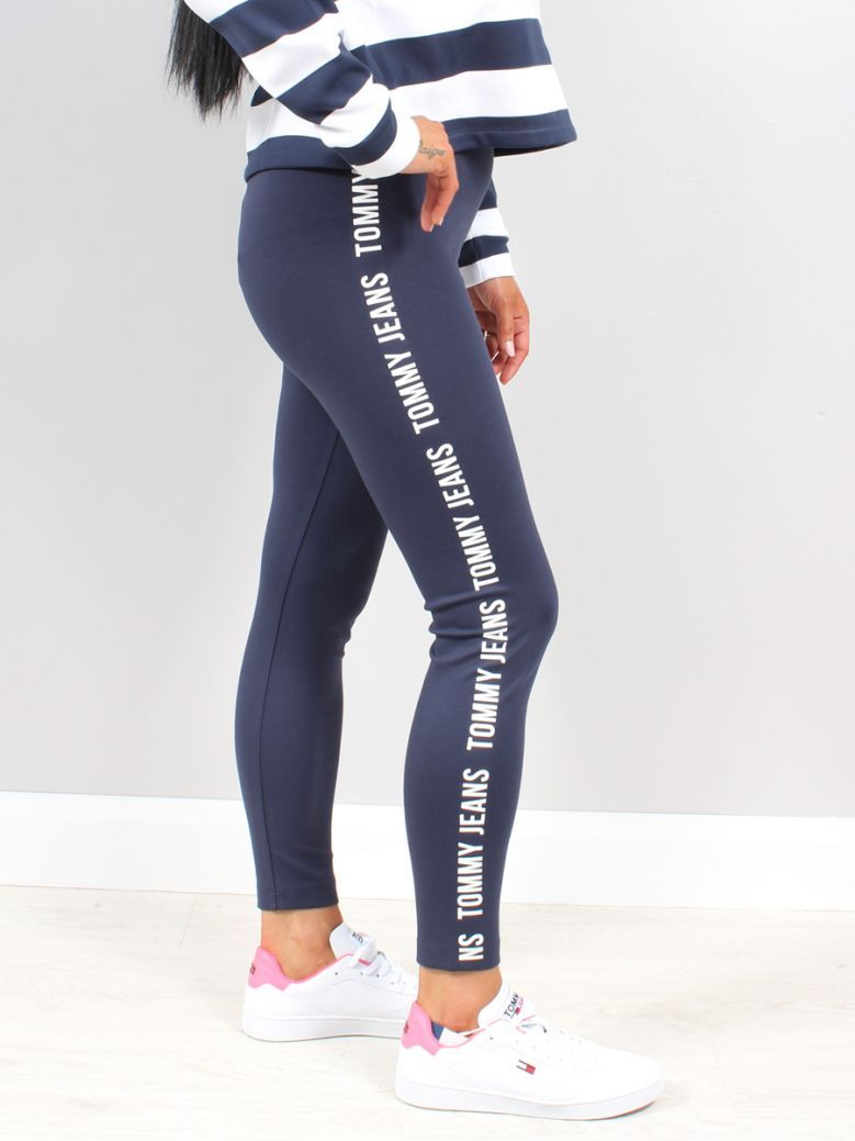 Tommy Jeans Ladies Twilight Navy Curve Tape Legging