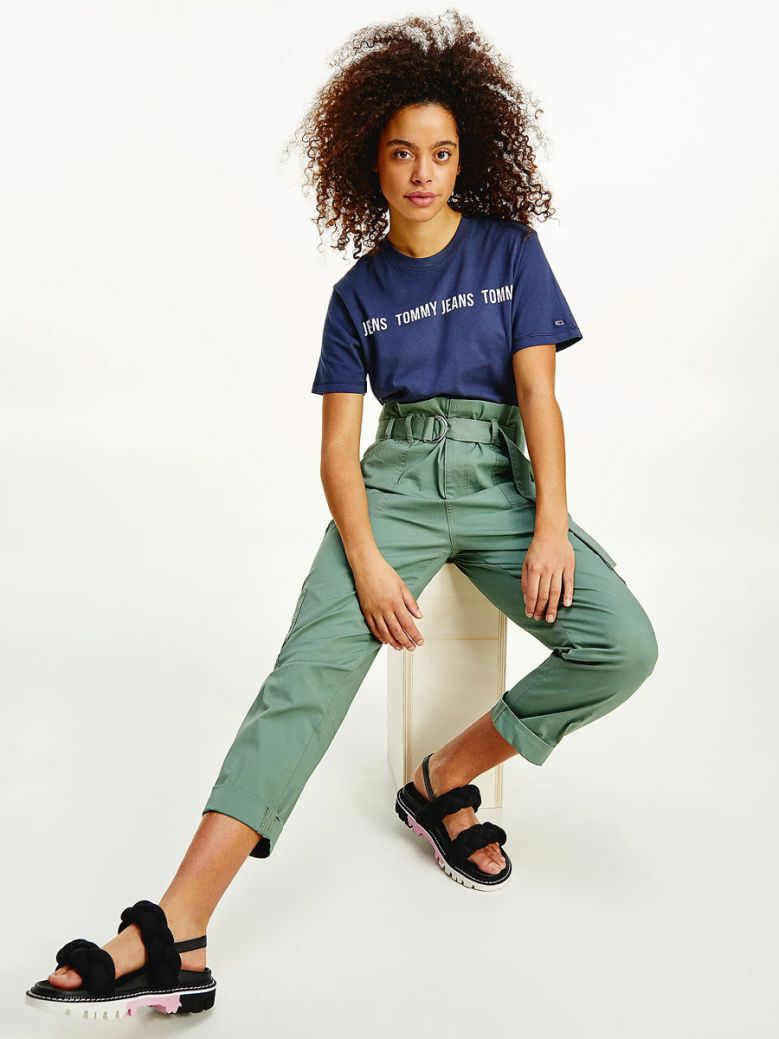Tommy Jeans Ladies Twilight Navy Repeat Logo Tape Cropped Fit T-Shirt