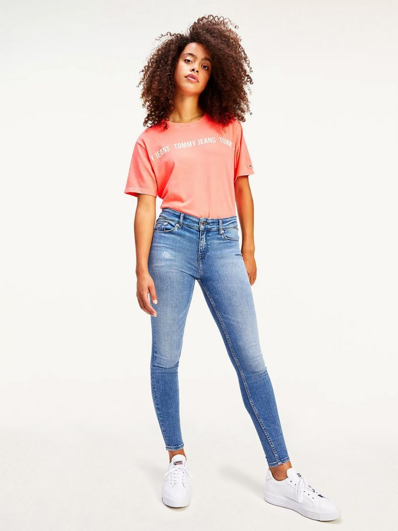 Tommy Jeans Ladies Diva Pink Repeat Logo Tape Cropped Fit T-Shirt