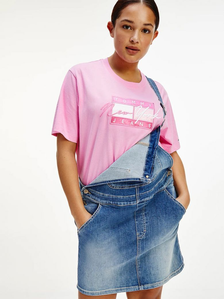 Tommy Jeans Pink Daisy Curve New York Logo Embroidery T-Shirt
