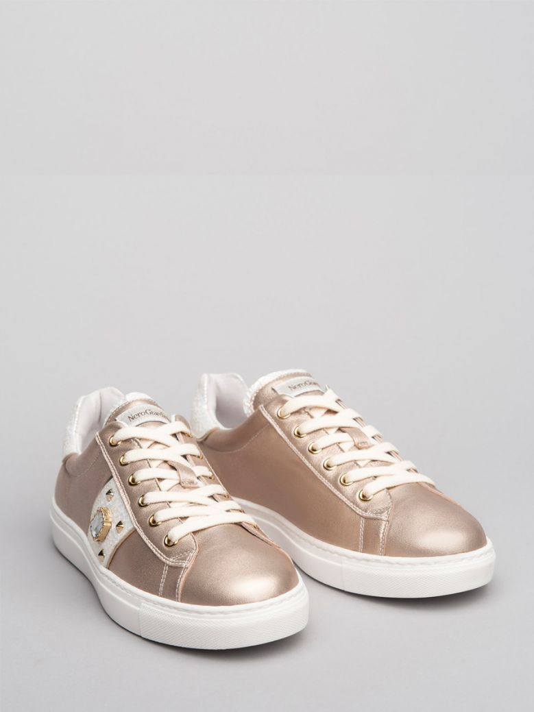 NeroGiardini Taupe With Gold Side Stripe and  Jewel Trainers